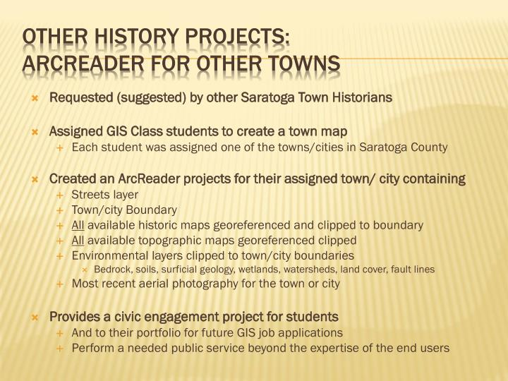 Requested (suggested) by other Saratoga Town Historians