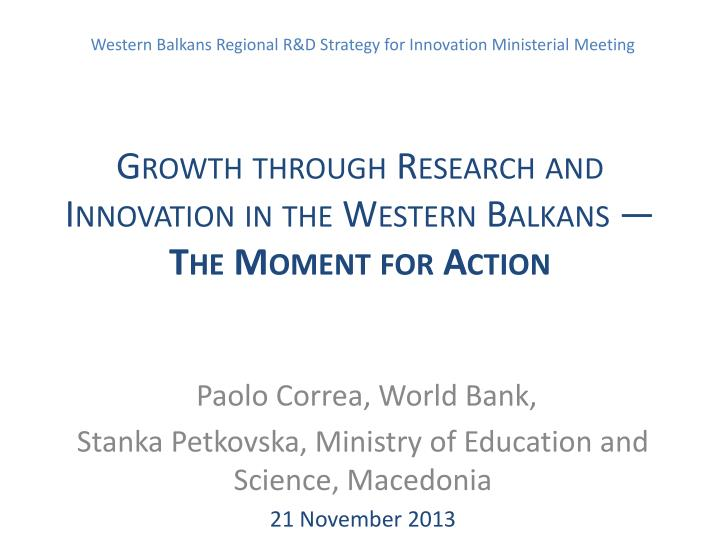 Growth through research and innovation in the western balkans the moment for action