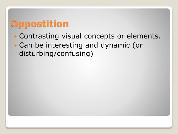 Contrasting visual concepts or elements.