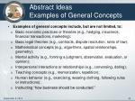 abstract ideas examples of general concepts