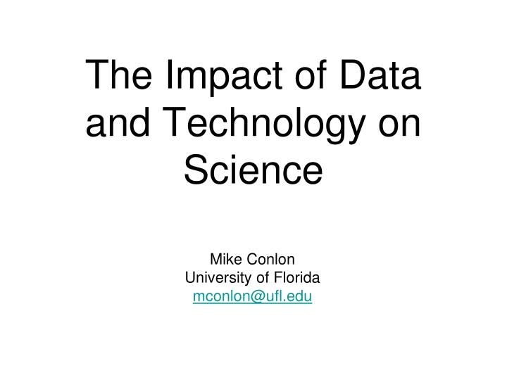 the impact of data and technology on science n.