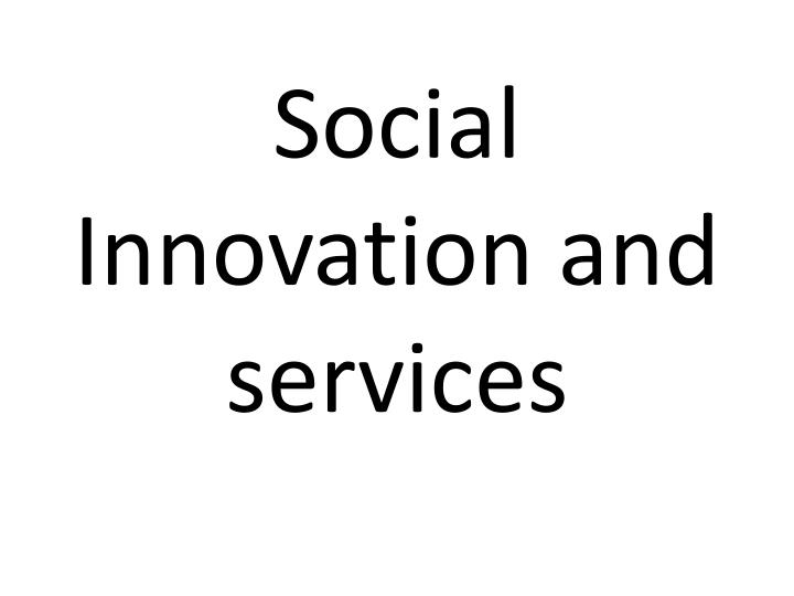 social innovation and services n.