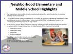 neighborhood elementary and middle school highlights