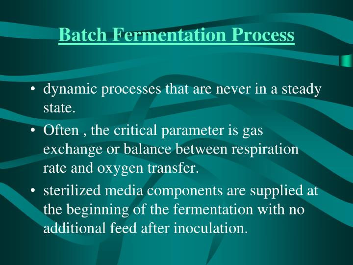 Batch Fermentation Process