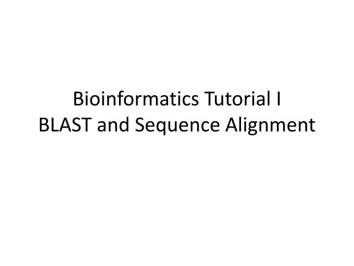 bioinformatics tutorial i blast and sequence alignment n.