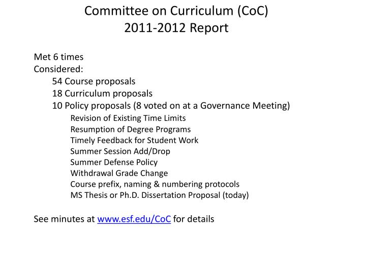 Committee on Curriculum (CoC)