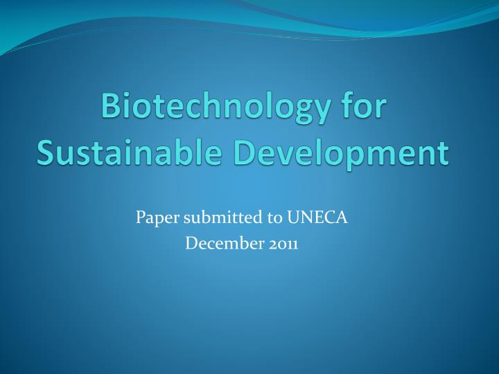 biotechnology for sustainable development n.