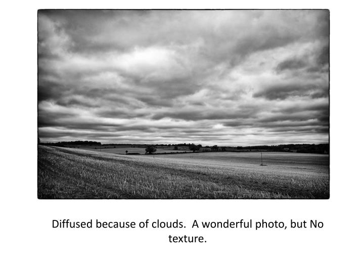 Diffused because of clouds.  A wonderful photo, but No texture.
