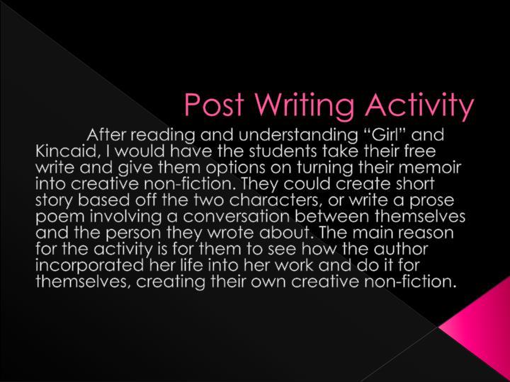 Post Writing Activity