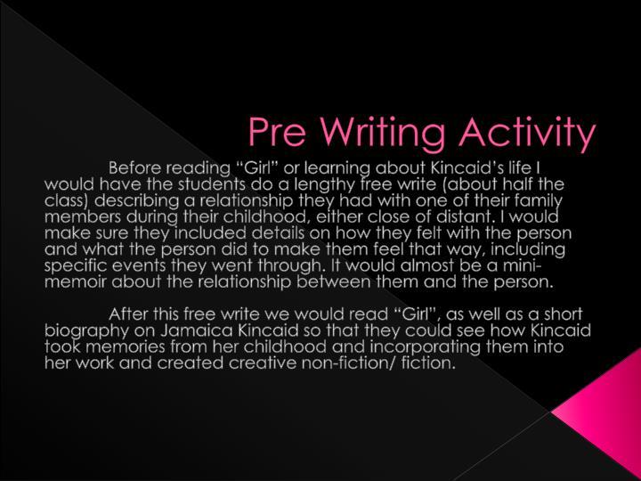 Pre Writing Activity