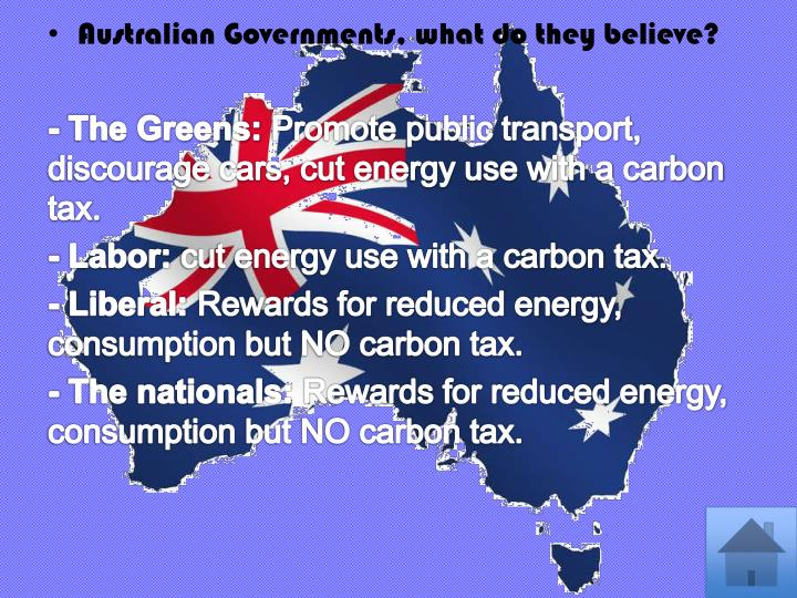 Australian Governments, what do they believe?