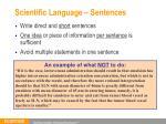 scientific language sentences