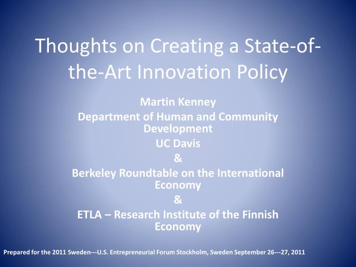 thoughts on creating a state of the art innovation policy n.