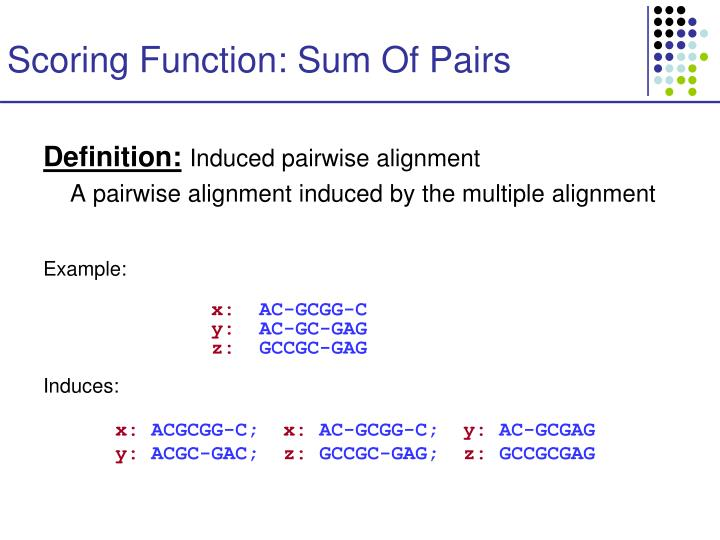 Scoring Function: Sum Of Pairs
