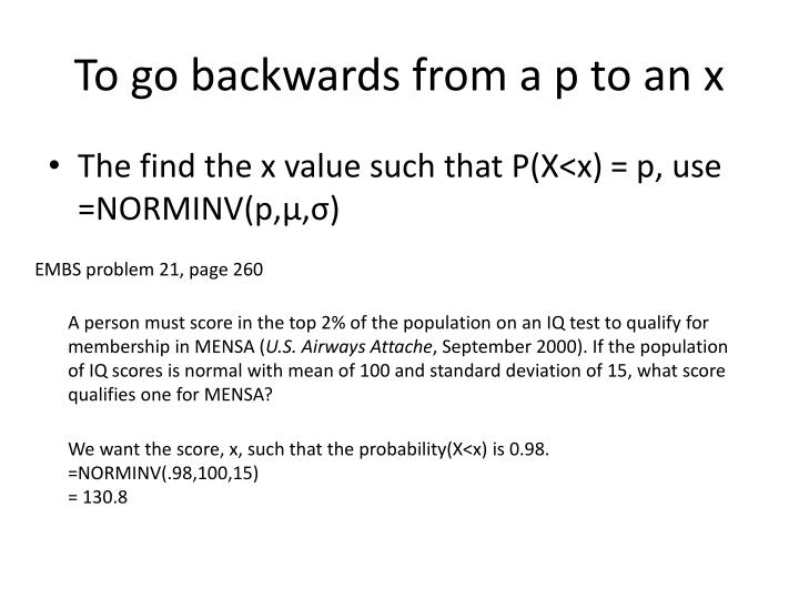 To go backwards from a p to an x