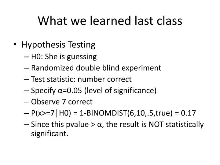 What we learned last class