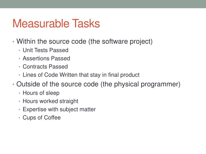 Measurable Tasks