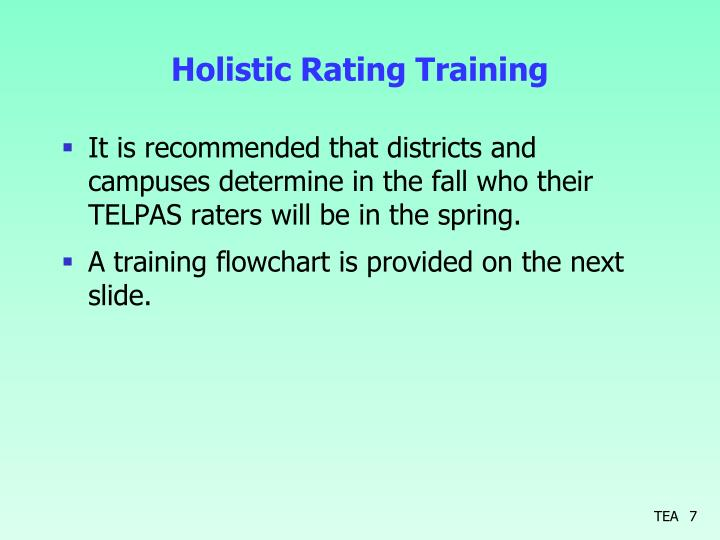 Holistic Rating Training