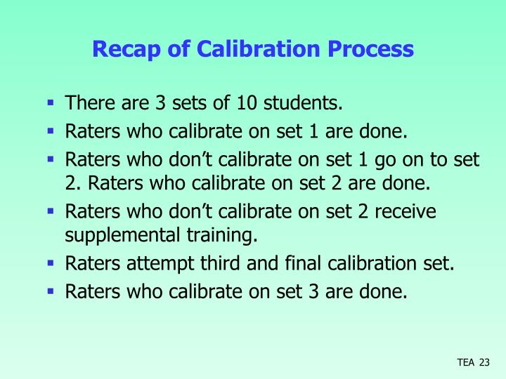 Recap of Calibration Process