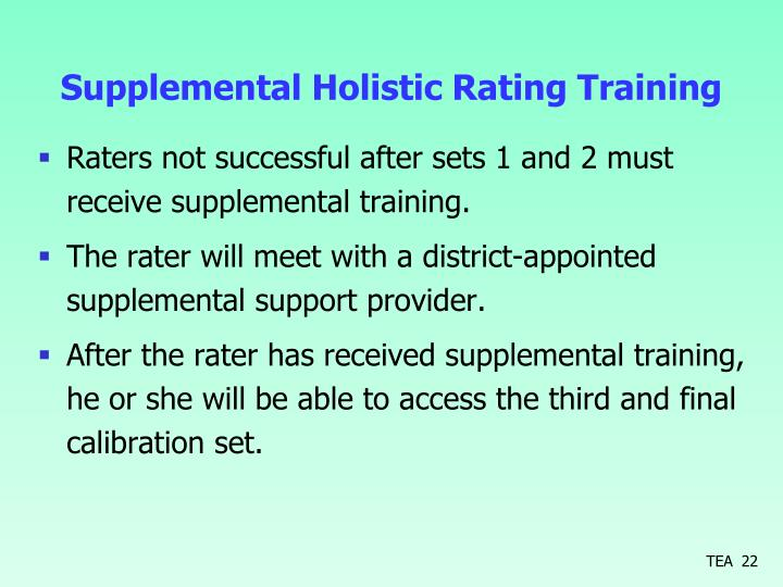 Supplemental Holistic Rating Training