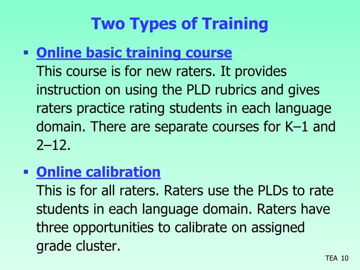 Two Types of Training