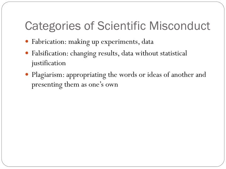 Categories of Scientific Misconduct