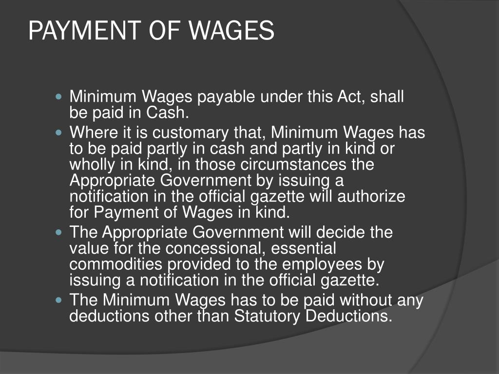 PPT - THE MINIMUM WAGES ACT, 1948 PowerPoint Presentation - ID:1607018