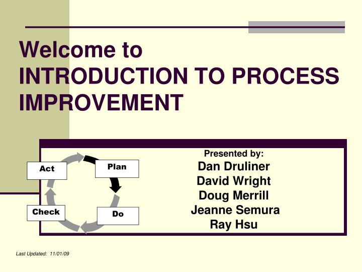 welcome to introduction to process improvement n.