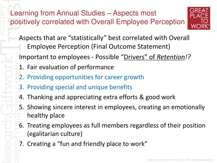 Learning from Annual Studies – Aspects most positively correlated with Overall Employee Perception