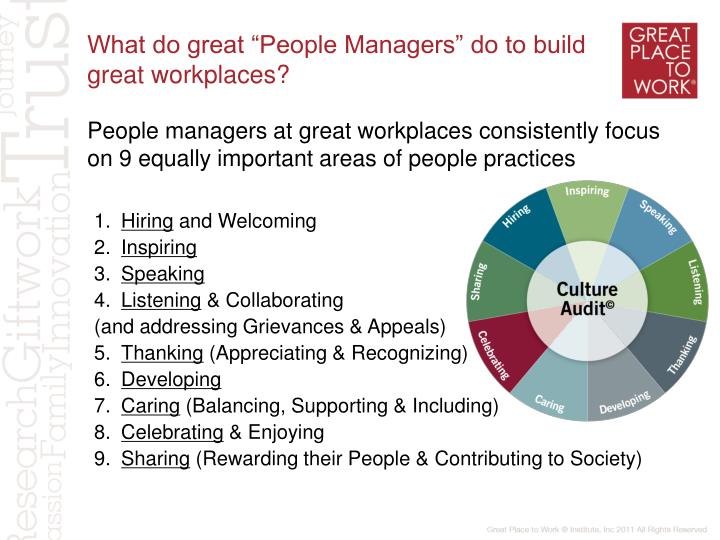 "What do great ""People Managers"" do to build great workplaces?"