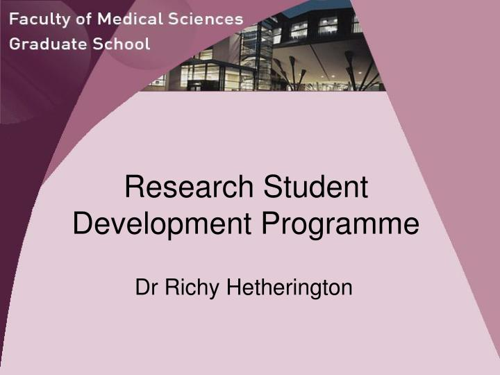 research student development programme n.