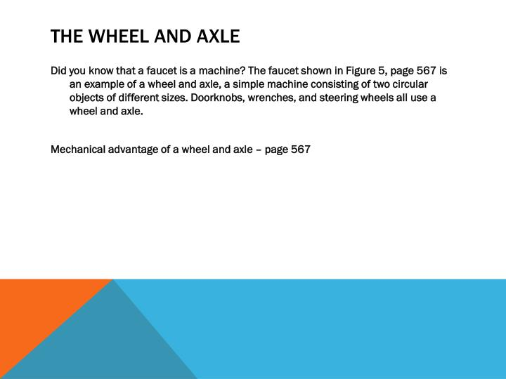 The wheel and axle