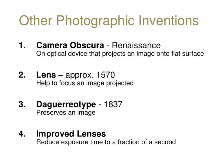 Other Photographic Inventions