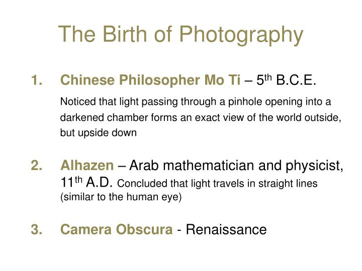 The Birth of Photography