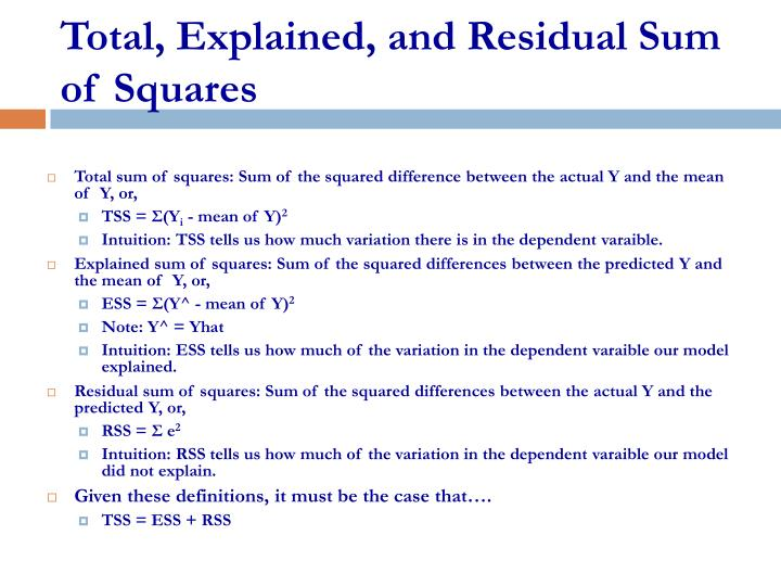 total explained and residual sum of squares n.