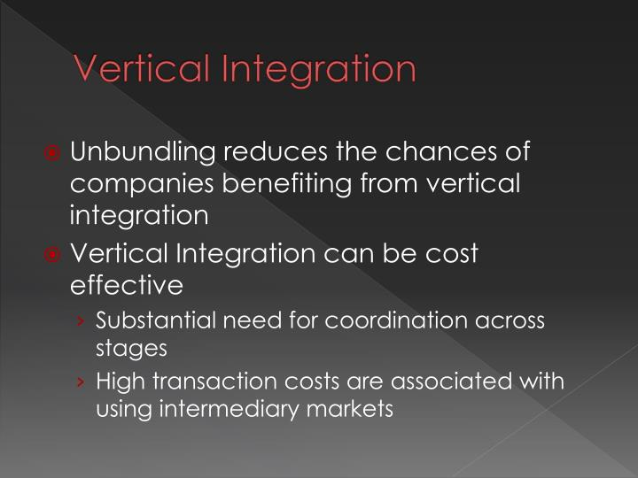 vertical integration: a case study of scandinavian essay Vertical integration has been defined by (roberts, 2009) as a process whereby a firm establishes its business into zones that are at different points on the same production path, such as when a manufacturer owns its supplier and/or distributor.