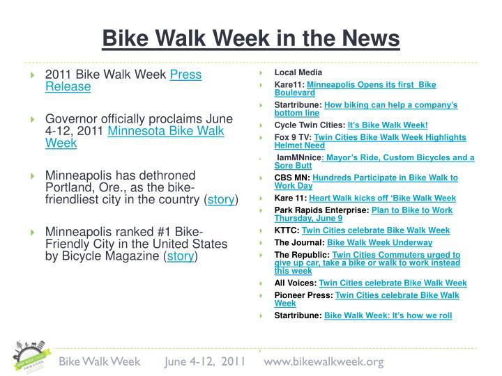 Bike Walk Week in the News