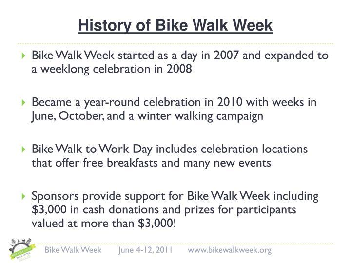 History of bike walk week