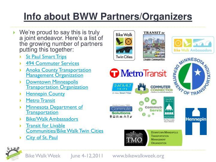 Info about BWW Partners/Organizers
