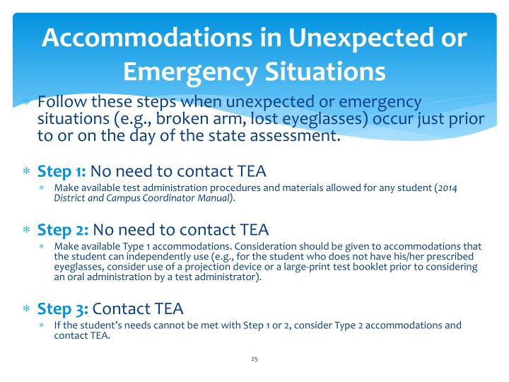 Accommodations in Unexpected or Emergency Situations