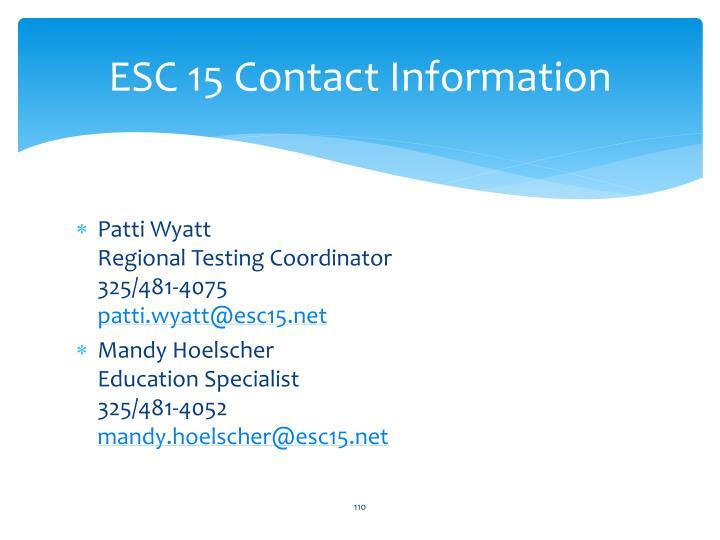ESC 15 Contact Information