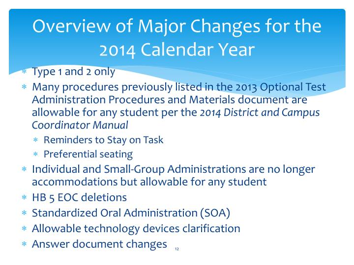Overview of Major Changes for the