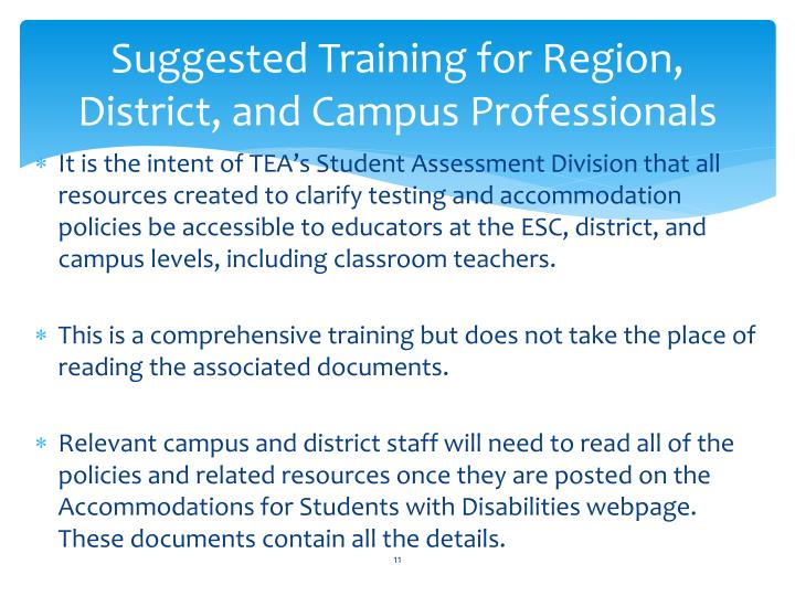 Suggested Training for Region, District, and Campus Professionals