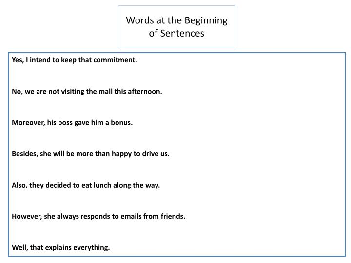 Words at the Beginning of Sentences