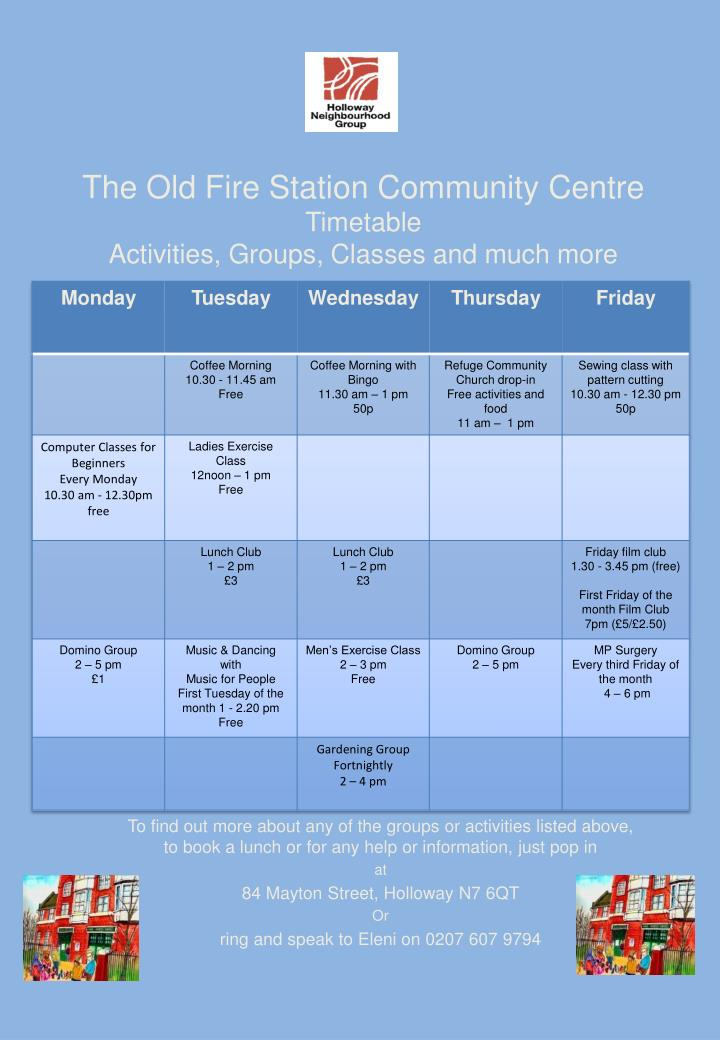 The old fire station community centre timetable activities groups classes and much more