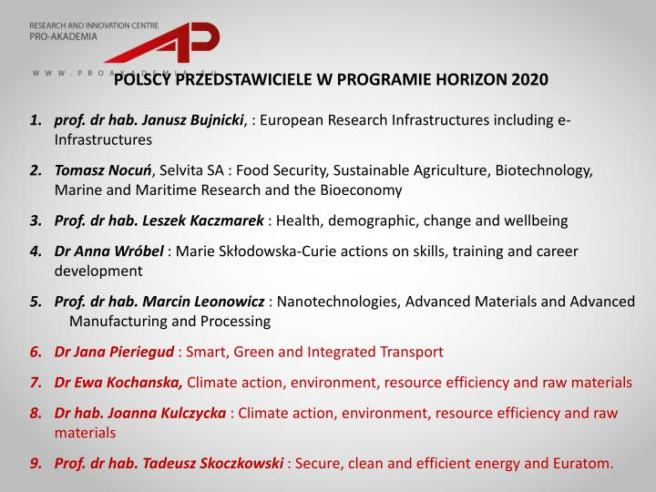 POLSCY PRZEDSTAWICIELE W PROGRAMIE HORIZON 2020