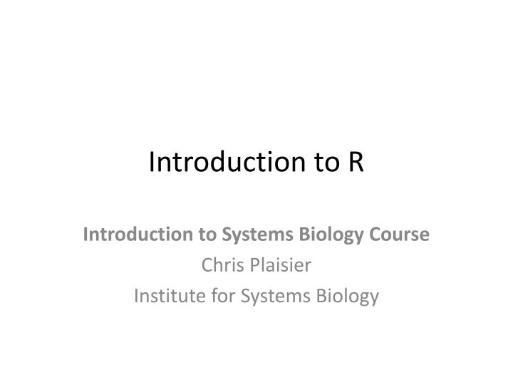 introduction to r n.