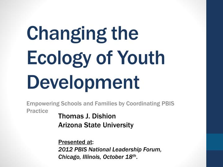 changing the ecology of youth development n.