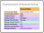 characteristics of personal selling