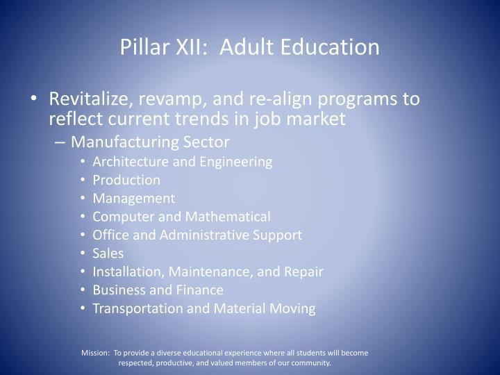 Pillar XII:  Adult Education